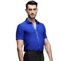 2019 Fashion Mens Latin Dance Tops Ballroom Tango Dancing Wear Men Short Sleeve Latin Dance Tops Men Performance Dancewear