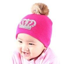 Детские симпатичные корона стиль зимняя шапка с реальным кролика помпоном розовый фуксия тепловой открытый мальчик девочка роскошные beanies skullies gorros