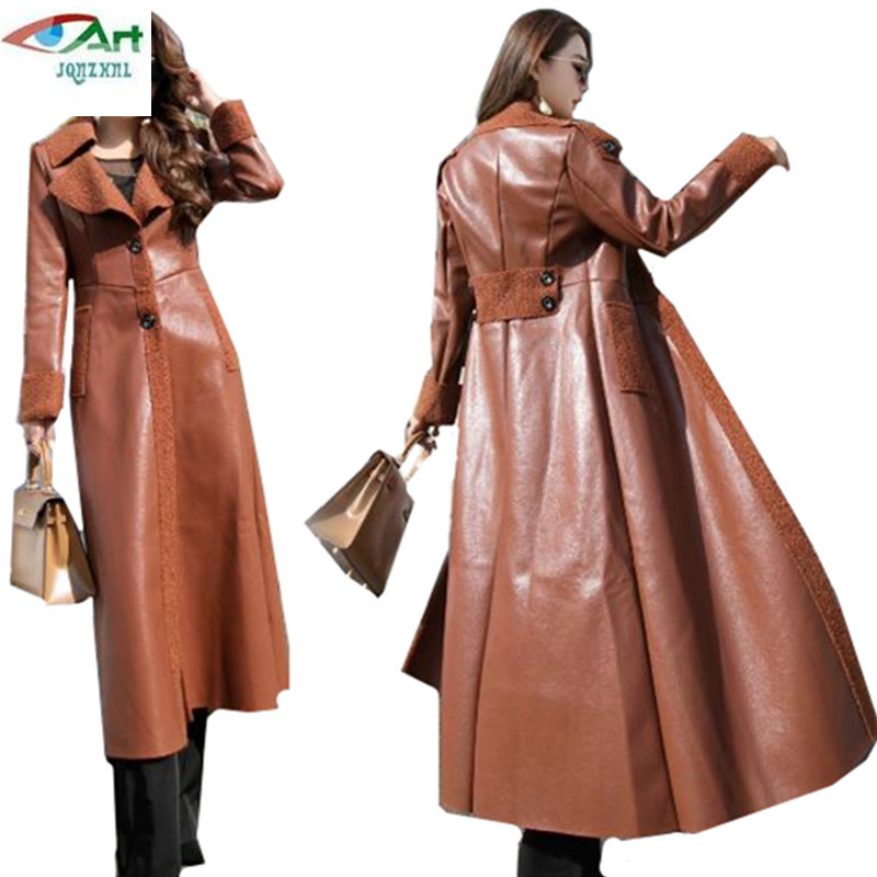 Long leather women s jackets winter new slim Show thin fashion lapel leather Overcoats warm lamb