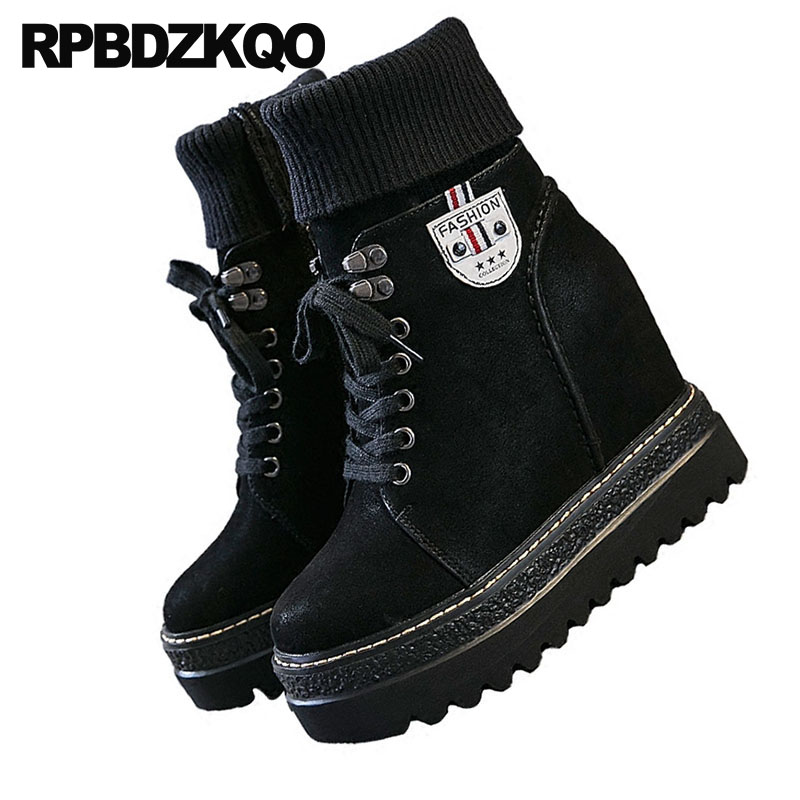 Chaussures Caché Noir Lacent Noir Fétiche Femmes Avant Talon Bottes Extrême En brow Cheville Casual Combat Haut Flatform Chaussette Militaire Automne Tricot HwqOfIz