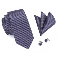 Popular Men's Ties Classic Plaid Mix Color Tie Handkerchief Pocket Cufflinks Set Fashion Neck Tie for Men C-660 2