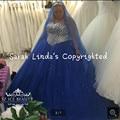 Plus Size Azul Royal doce 16 Vestidos do baile de finalistas vestidos de Bling cristais Frisado Tule 2016 vestido de baile princesa vestido de baile quente venda