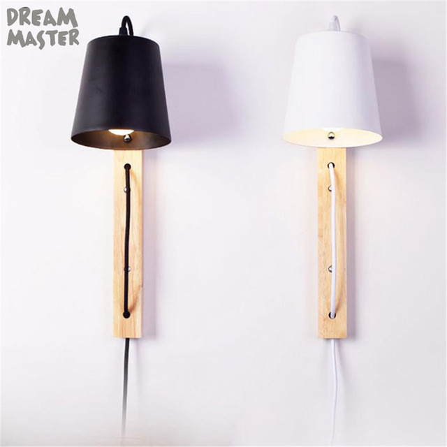 Europe Style Modern Wood Plug Wall Lamp Black White Living Room
