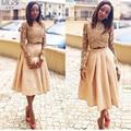 África único 2016 STD A-línea de Alta Cuello de Dos Piezas Top de Encaje de Manga Larga Vestidos de Fiesta de Tafetán de Té de Longitud Prom Vestido Del Partido
