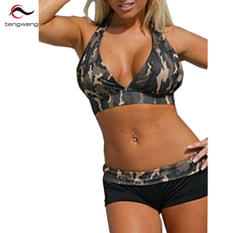 2017 Women Sexy Halter Army Green Camouflage Boxer Shorts Sport Bikini Set Biquini Swimsuit Swimwear Brazilian PlusSize BathSuit
