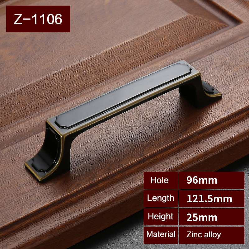 High Quality Antique Black Handles for Furniture Drawer Cabinet Kitchen Pull Handles Knobs Handle Wardrobe   Z-1106 furniture drawer handles wardrobe door handle and knobs cabinet kitchen hardware pull gold silver long hole spacing c c 96 224mm