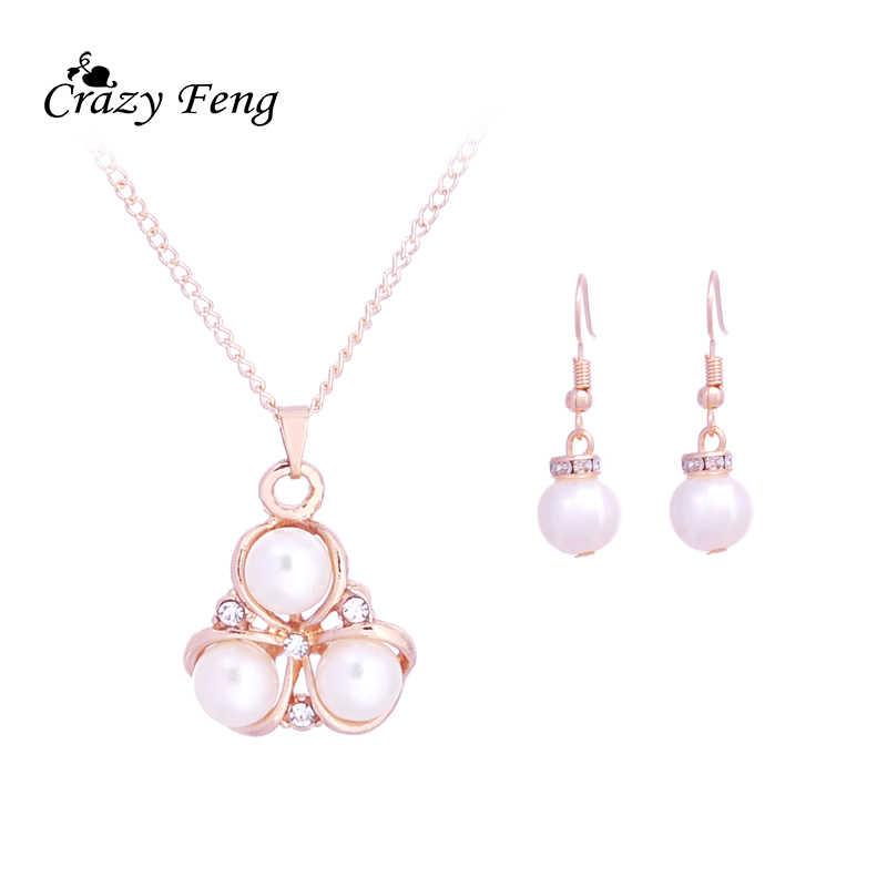 Fashion Simulated Pearl Pendant Necklace Jewelry Sets Crystal Rhinestone Choker Necklace Dangle Drop Earrings Jewelry Set