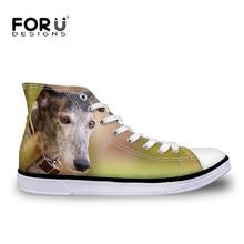 0dfc98ea15 Transporte Da Gota Bonito Padrão Animal Cão Galgo FORUDESIGNS Vulcanize  Sapatos de Alta Top das Mulheres