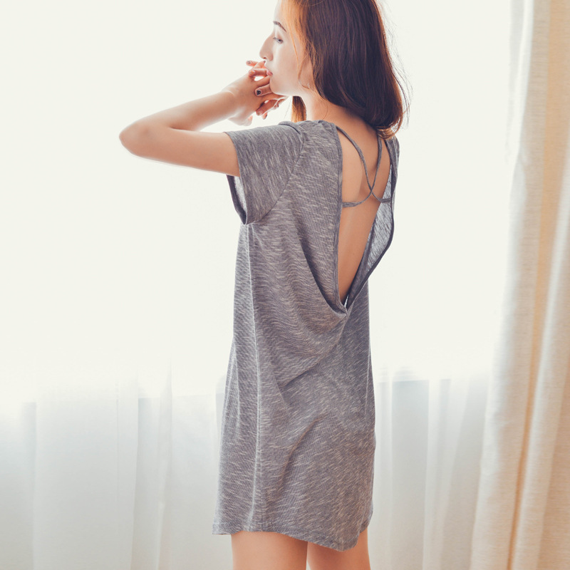 Summer Short-sleeved Pyjamas Sexy Woman With Open Back V Collar Night Gown Sleep Dress Beautiful Nightgown Home Dress Sleepwear