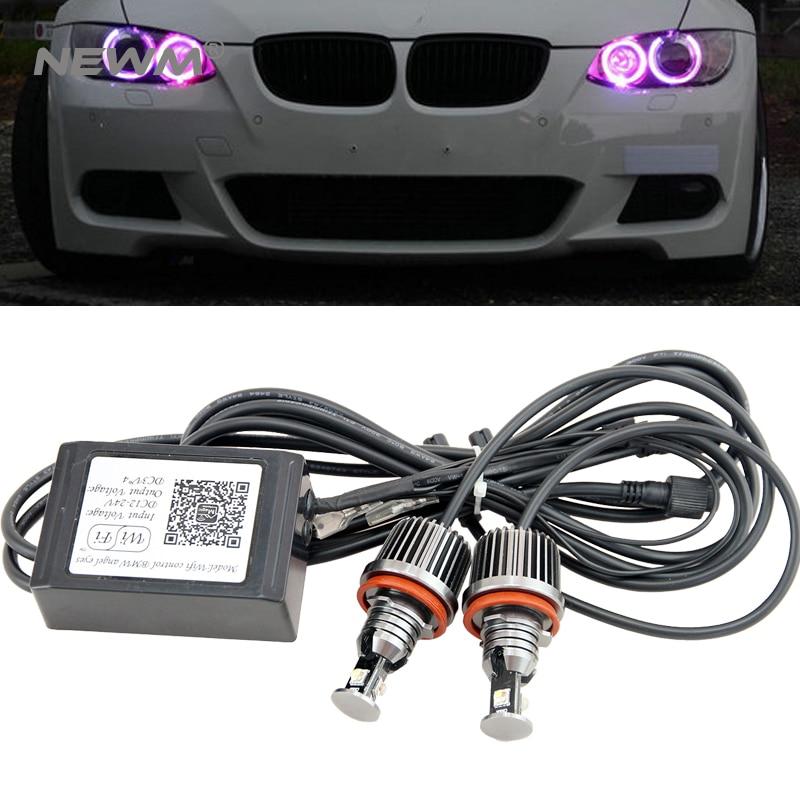 WIFI RGB H8 72W LED Angel Eyes Lamp for BMW E87 E82 E92 E93 E70 E71 E90 E91 E60 E61 E63 E64 LED Marker car angel eyes light bulb 2x e marked obc error free 24 led white license number plate light lamp for bmw e81 e82 e90 e91 e92 e93 e60 e61 e39 x1 e84