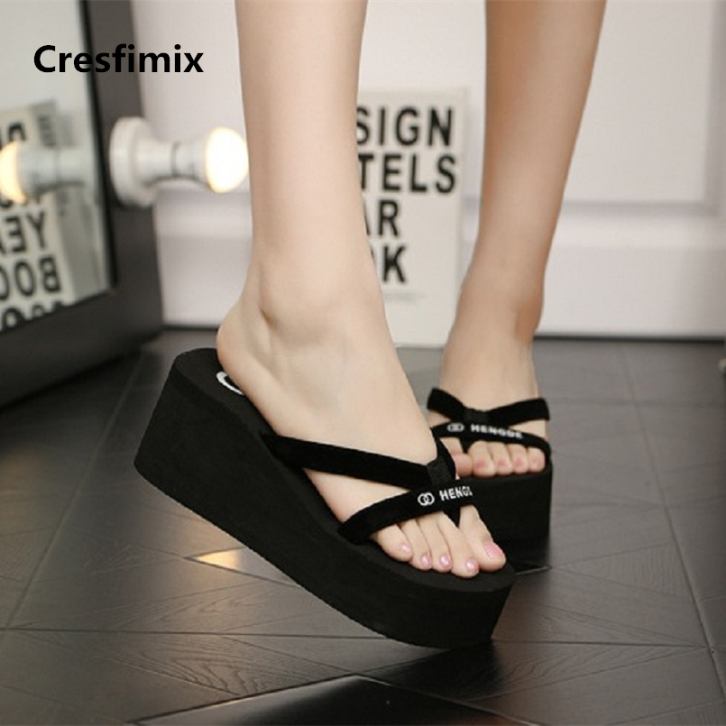 Cresfimix women fashion 7cm black eva high heel flip flops lady cute comfortable black beach flip flops cool flip flops a675 цена