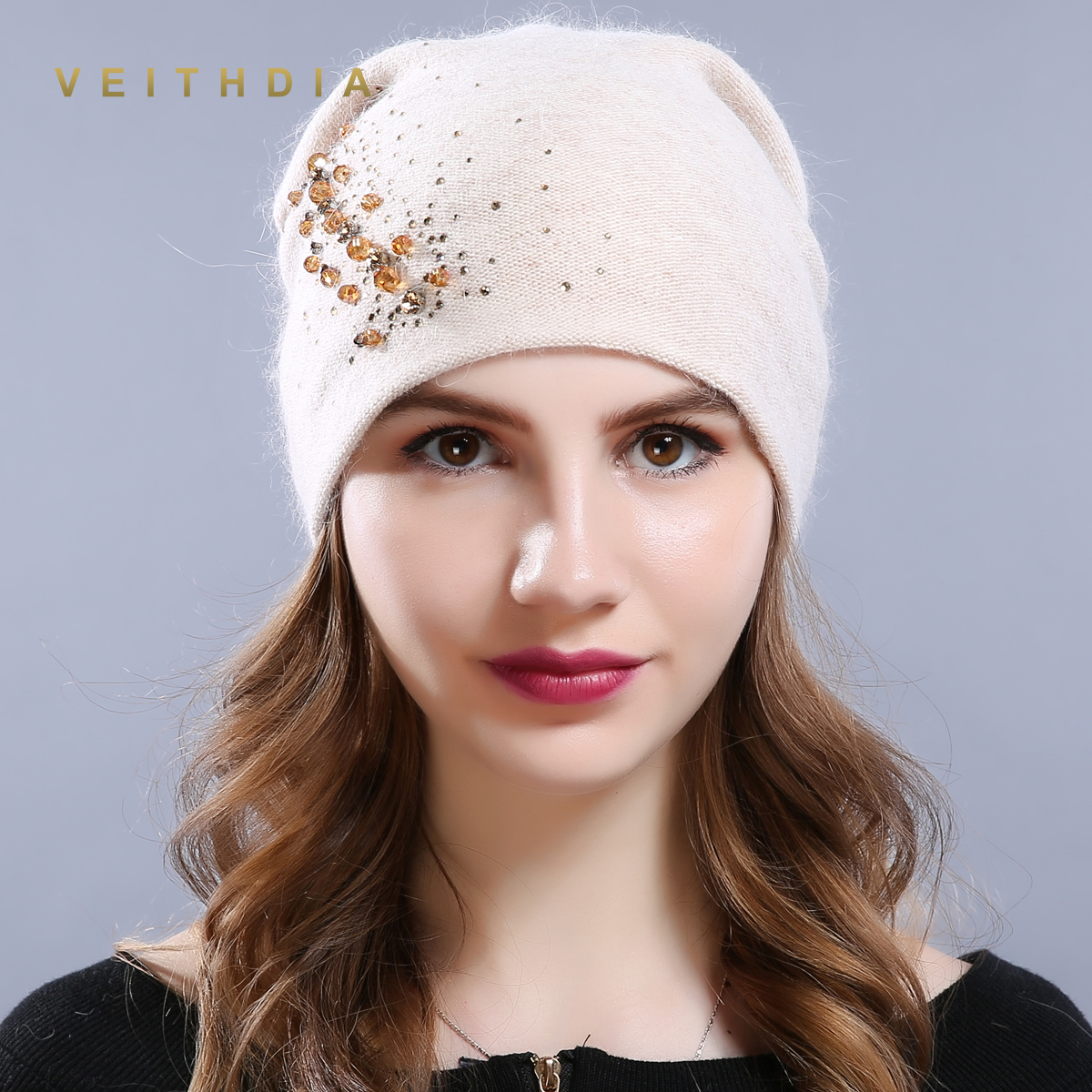 VEITHDIA Women's Hats Female Cashmere Casual Autumn Winter Brand New Crystal Double Layer Thick Knitted Girls   Skullies     Beanies