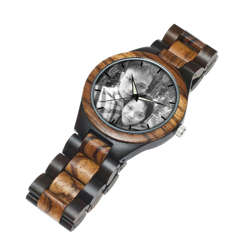 zebra wooden band watch male clock 2