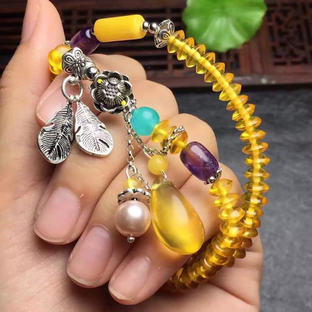 Peso total de 15.6 gramas certificada ametista bola âmbar natural cera de abelha e cera de abelha pulseira para pulseiras das mulheres