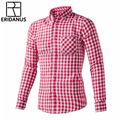 ERIDANUS Plus Size 4XL 2016 Autumn New Men's Plaid Cotton Casual Shirts Male Long Sleeve Slim Fit Shirt Camisa For Man M445