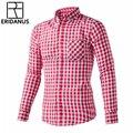 ERIDANUS Plus Tamaño 4XL 2016 Otoño Nuevos hombres de Algodón A Cuadros Informal camisas de Hombre de Manga Larga Slim Fit Camisa Para Hombre M445
