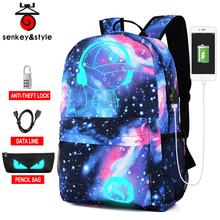 Fashion Luminous Men's Backpack Starry sky Anime School Backpack Teenagers Casual Mochila Men Women's Student Cartoon School Bag