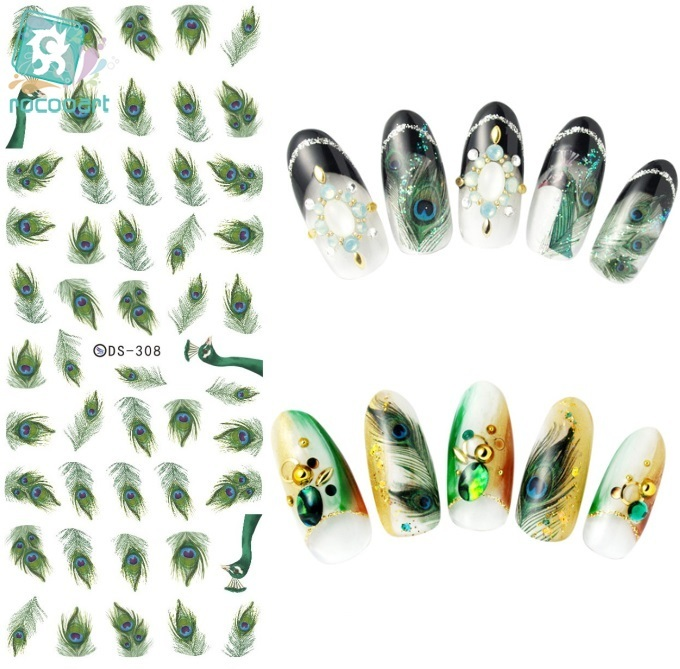 Rocooart DS308 Water Transfer Nails Art Sticker Harajuku Elements Green Peacock Feather Nail Wraps Sticker Manicura Decal ds311 new design water transfer nails art sticker harajuku elements colorful water drops nail wraps sticker manicura decal