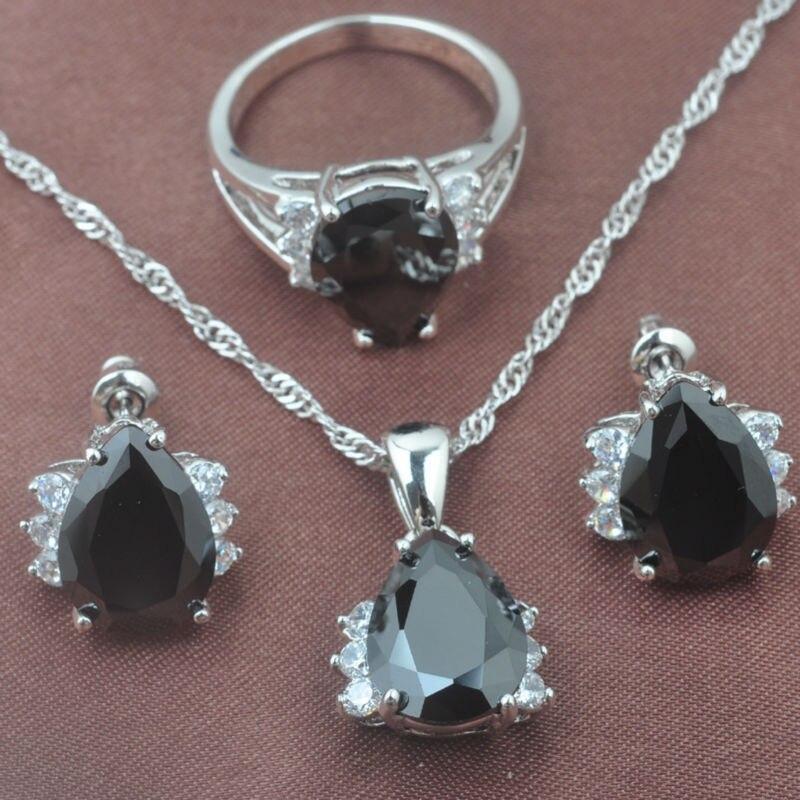 Schmuck & Zubehör Frauen Schwarz Stein Wasser Zirkonia 925 Silber Schmuck Sets Halskette Anhänger Ohrringe Ringe Freies Verschiffen Tz0258