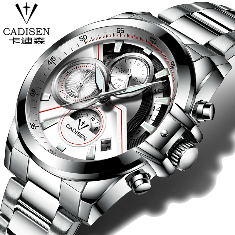 cadisen Quartz Military Sport Watch Men Luxury Brand Casual Watches Men's Wristwatch army Clock full steel relogio masculino weide new men quartz casual watch army military sports watch waterproof back light men watches alarm clock multiple time zone