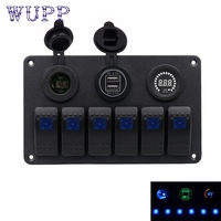 6 Gang Waterproof Car Auto Boat Marine LED Rocker Switch Panel Circuit Breakers Ma8 Levert Dropship