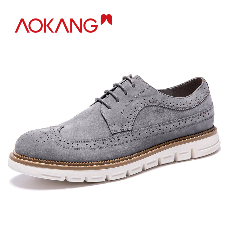 AOKANG  New Arrival Men Shoes Leather Genuine Men Casual Shoes Comfortable Flat Shoes Man Breathable Hard-wearing Shoes