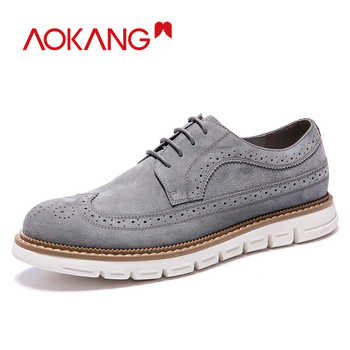 AOKANG  New Arrival Men Shoes leather genuine men casual shoes comfortable flat shoes man breathable hard-wearing shoes - DISCOUNT ITEM  65% OFF All Category