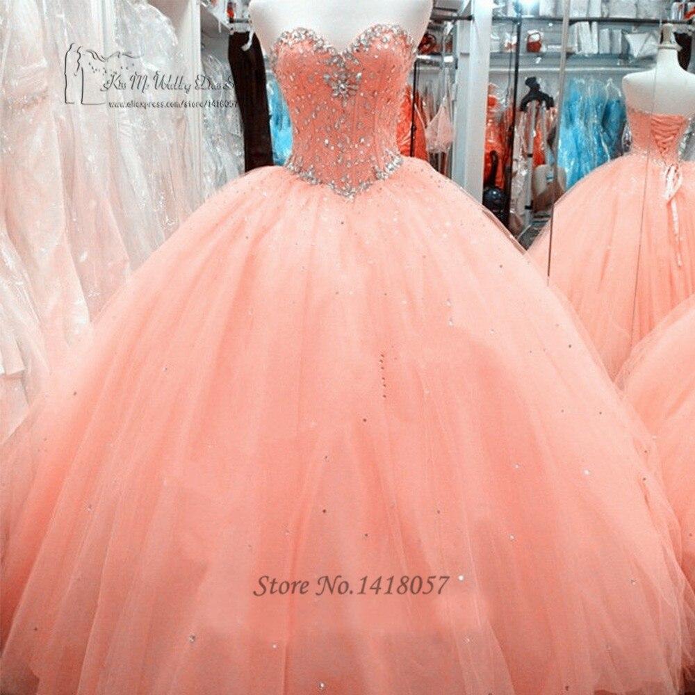 Vestido de Debutantes e 15 anos Cheap Coral Quinceanera Dresses Gowns 2017 Ball Gown Crystals Debutante Gown Floor Length