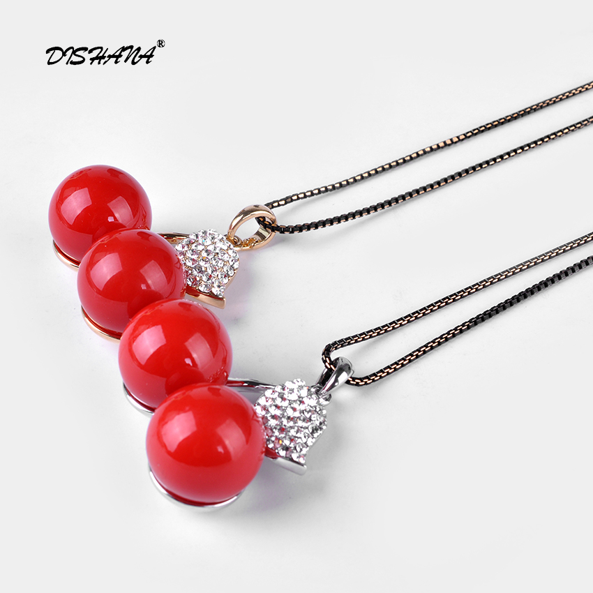 Simulated Red Pearl Jewelry Necklace Rhinestone Leaf Pendants Chain  Statement Necklaces for Women 2016 New(X0249)-in Pendant Necklaces from  Jewelry ... b401498d378e