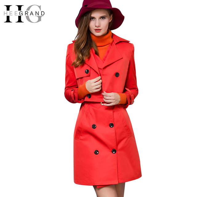 HEE GRAND 2016 Fashion Slim 2 Pieces Trench Coats Double Breasted Full Sleeve Outwear Solid Sleeveless Women Dress Suits WWF790