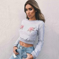 2017 Casual Women Floral Embroidery T Shirts Hooded Long Sleeve Round Neck Short Shirt Female Clothing