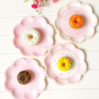 8 Uds 20,5 cm Rosa forma de pétalo suministros para fiestas, bodas y cumpleaños decoración pastel plato de papel desechable placas favores de la ducha de bebé de AA