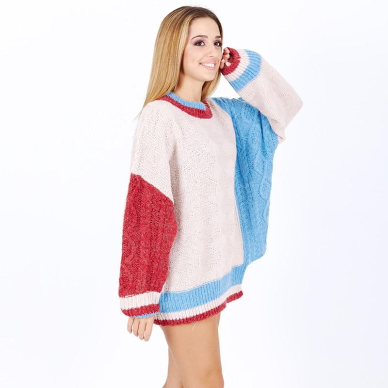 Venta Caliente Grueso Larga Patchwork Invierno Suéter Suéteres red O De Ropa Blue Girl Flojo Punto Manga Mujer Cuello U6SZg