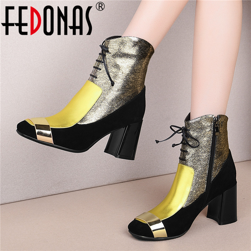 FEDONAS 2021 Women Autumn Winter Genuine Leather Ankle Boots Zipper High Heels Short Boots Fashion Party Night Club Shoes Woman