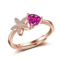 여성 약혼 반지 고체 925 스털링 실버 보석 골드 컬러 보석 반지 조정 로맨틱 프롱 반지 선물