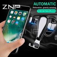 ZNP ZNP Trọng Lực Phản Ứng Xe Chủ Phone Đứng Đối Với iphone 7 Phổ Air Vent Núi Điện Thoại Di Động Clip Chủ Cho Samsung Xiaomi GPS