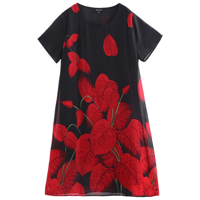 Plus Size 10XL 8XL 6XL 4XL Vintage Office Lady Jurken Zomer Mode Leaf Print Elegante OL Vrouwen Werk Slim Chiffon jurken-in Jurken van Dames Kleding op  Groep 3