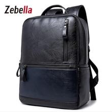 Zebella PU Leather High Qualituy Men Backpack For Business College Travel School Male Shoulder Waterproof mochila