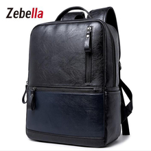 Zebella PU Leather High Qualituy Men Backpack For Business College Travel  School  Male Shoulder Waterproof mochila  Bags