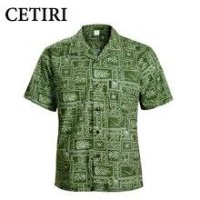 CETIRI Men Shirt Men's Hawaiian Shirt Green Cotton Plus Size Fancy Dress Shirts For Men Chemise Homme Camisa Palmeiras Overhemd