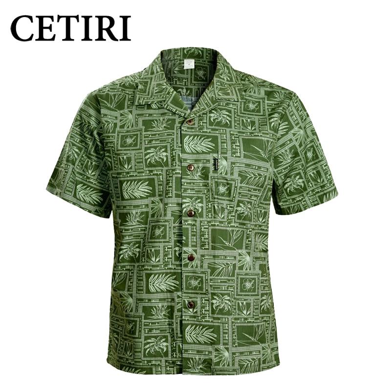 CETIRI 남성 셔츠 남성용 하와이 셔츠 녹색 면화 플러스 사이즈 남성용 멋진 드레스 셔츠 Chemise Homme Camisa Palmeiras Overhemd