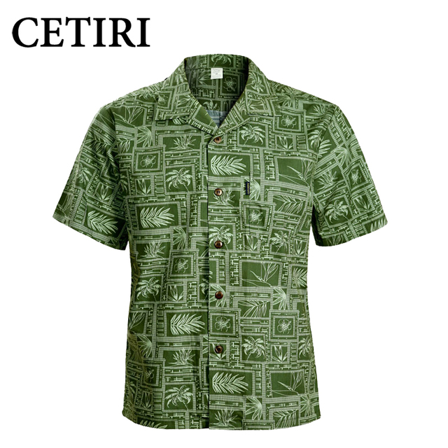 94ac13cf504 CETIRI Men Shirt Men s Hawaiian Shirt Green Cotton Plus Size Fancy Dress  Shirts For Men Chemise Homme Camisa Palmeiras Overhemd