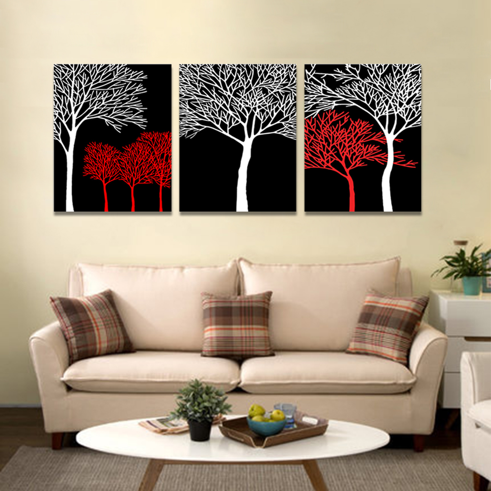 Unframed 3 Abstract Canvas Painting Red White Dry tree Wall Art Decor Prints Wall Pictures For Living Room Wall Art Decoration