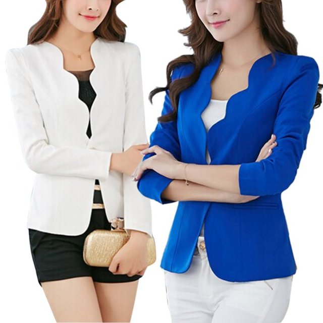 Spring OL Fashion Women Slim Blazer Coat Casual Jacket Long Sleeve One Button Suit Ladies Work Blazers 1