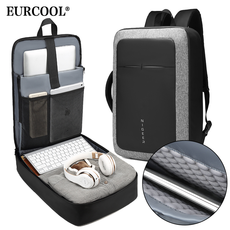 EURCOOL Male Business 17 Laptop Backpack Water Repellent USB Charging Multifunction Rucksack Fashion Travel Backpacks Men