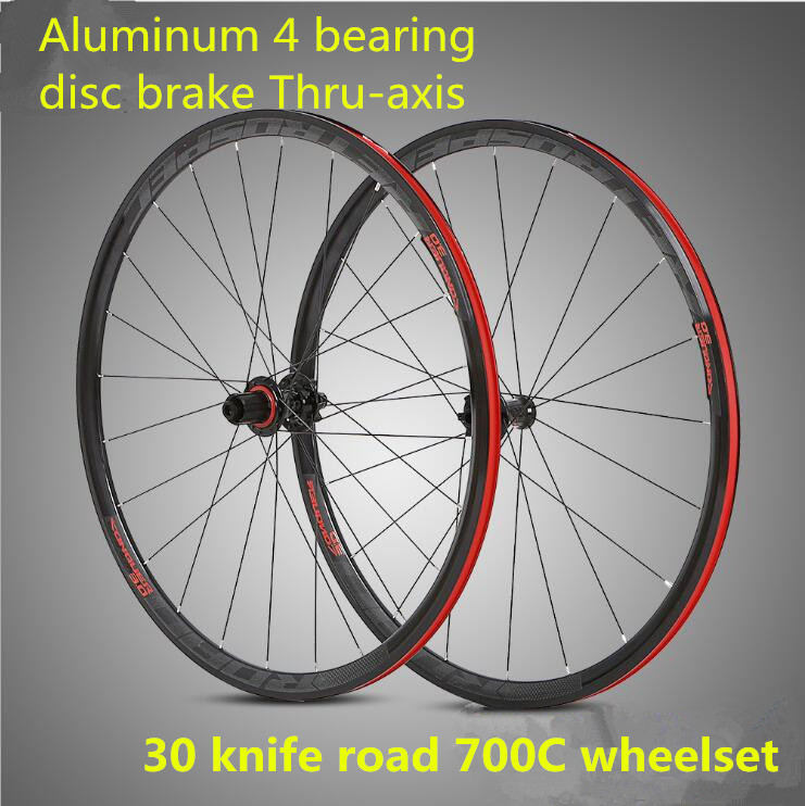 RS aluminum alloy 700C sealed bearing disc brake Thru-axis wheelset 30mm rim road bike wheels 700cc wheels disc brake wheels road bicycle v c brake 30mm alloy rim 29inch cross country road bike silver frame light wheel