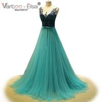 Robe de soiree longue 2017 emerald xanh evening dresses xem qua cap sleeve đính Tulle prom dresses women dresses formal