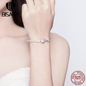 Image 2 - BISAER 925 Sterling Silver Heart Shape Clasp Infinity Love Infinite Femme Silver Bracelets for Women Jewelry Pulseira ECB142