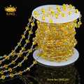 New Arrive Yellow Beads Rondelle Glass Rosary Beads Chain,Faceted Glass Crystal Stone Chain for Necklace Jewelry DS014