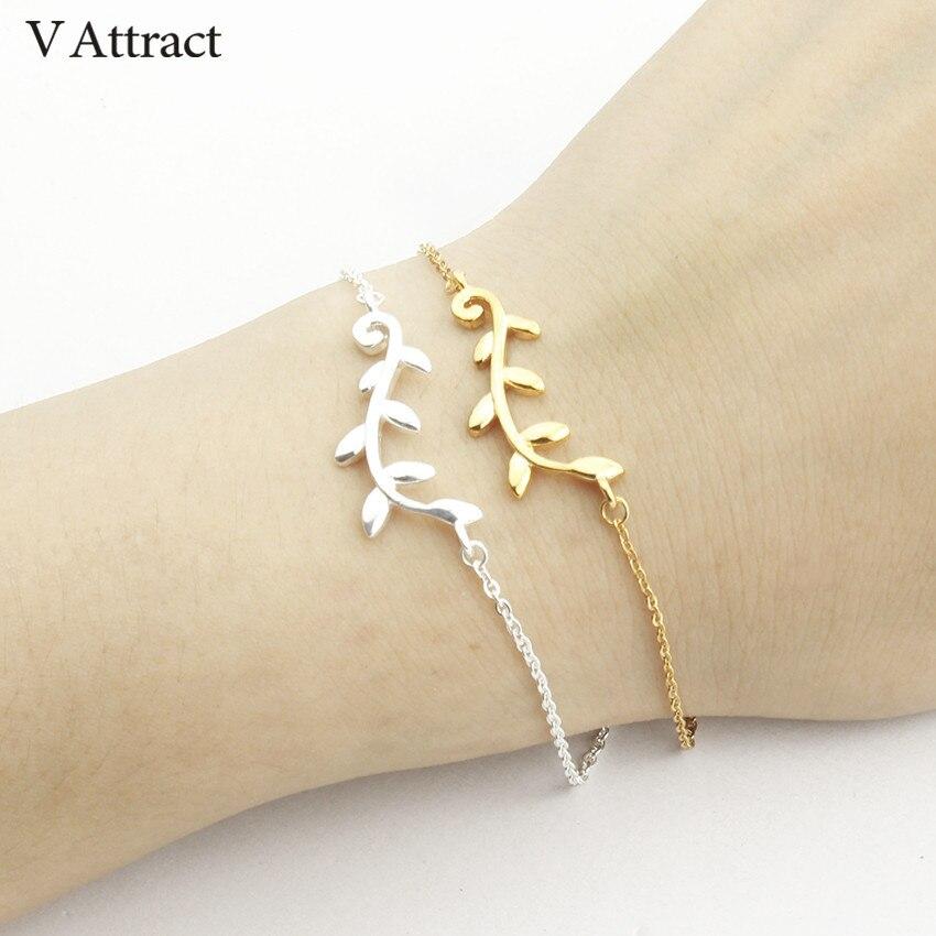 V привлекает простой ветка браслет для 2017, женская обувь золотые украшения нержавеющая Сталь звено цепи Pulseira masculina Рождественский подарок